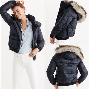 Abercrombie & Fitch Fur Trim Hooded Puffer Jacket